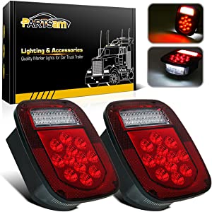 Partsam 2x Red/White 39 LED Stop Turn Tail Stud Lights Replacement for Jeep CJ YJ JK Truck Trailer Boat RV, Hardwired