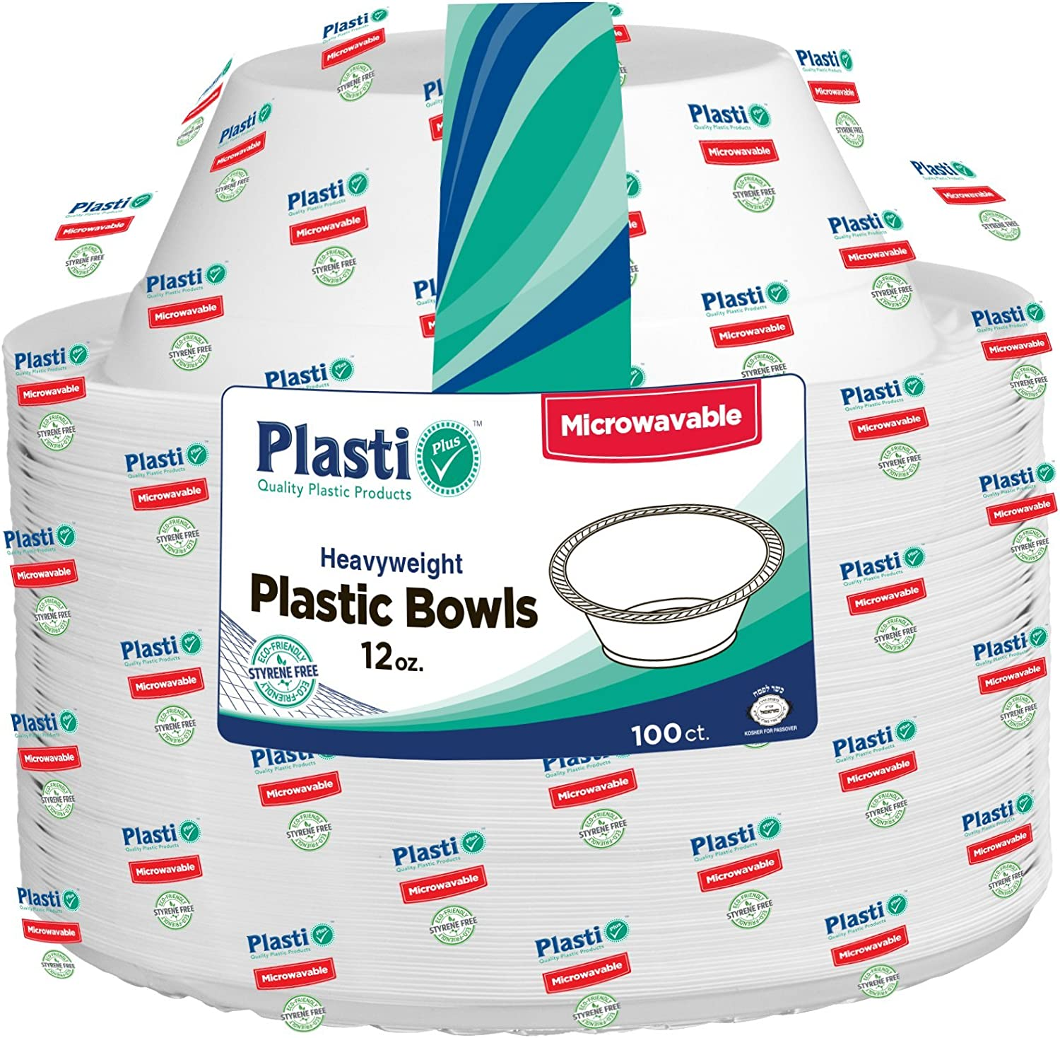 [100 Count] Plasti Plus Disposable Plastic White 12 oz Heavy Weight Soup Bowls, Great For Weddings, Home, Office, School, Party, Picnics, Take-out, Fast Food, Outdoor, Events, Or Every Day Use,