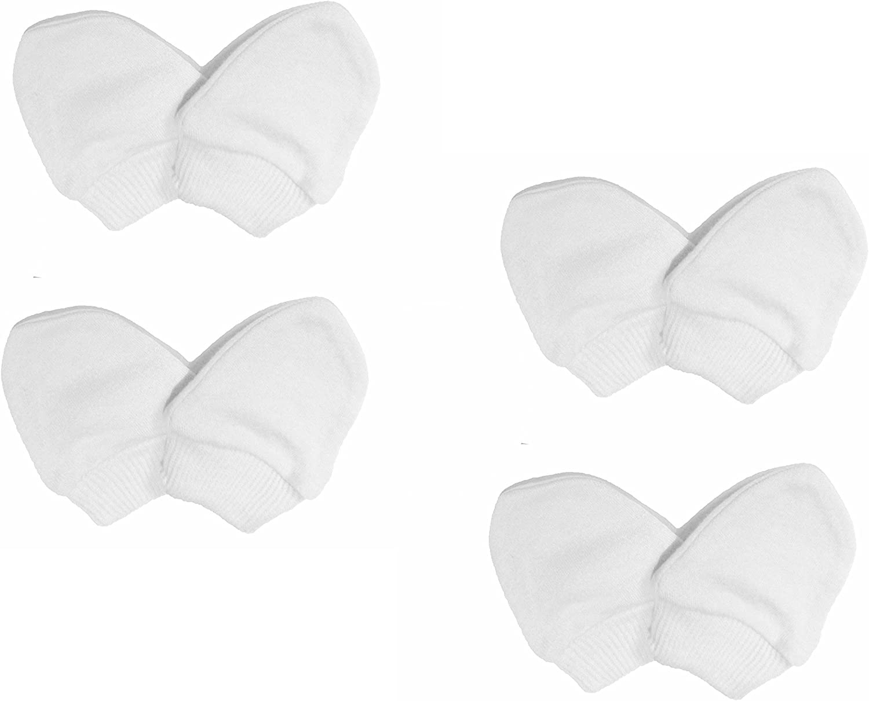 guanti a manopola per neonati in cotone 100/% Scratch Mitts di colore bianco bianco White Neonato