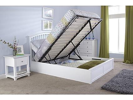 Baúl de almacenaje de madera Como cama - roble o blanco 4ft6 - doble ...