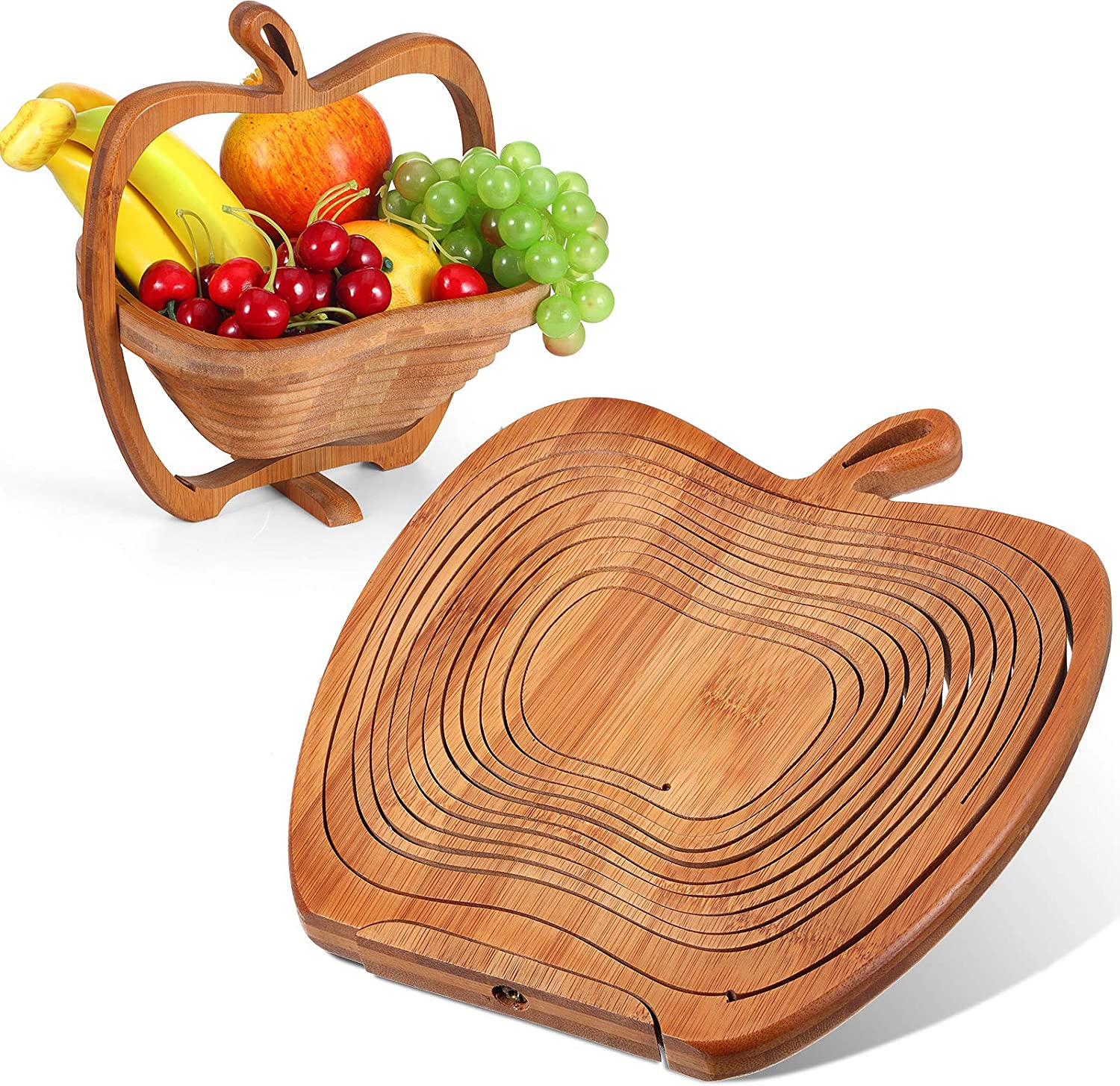 9 x 8.5 Inches Collapsible Bamboo Fruit Basket Dried Fruit Basket Tray Turns into Basket Wooden Snack Box Holiday Food Tray Fruit Bowl Holder for Kitchen Table