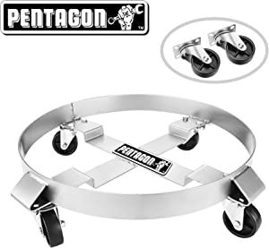 Pentagon Tool | Heavy Duty | 5 and 30-Gallon Drum Dolly | Single | Silver