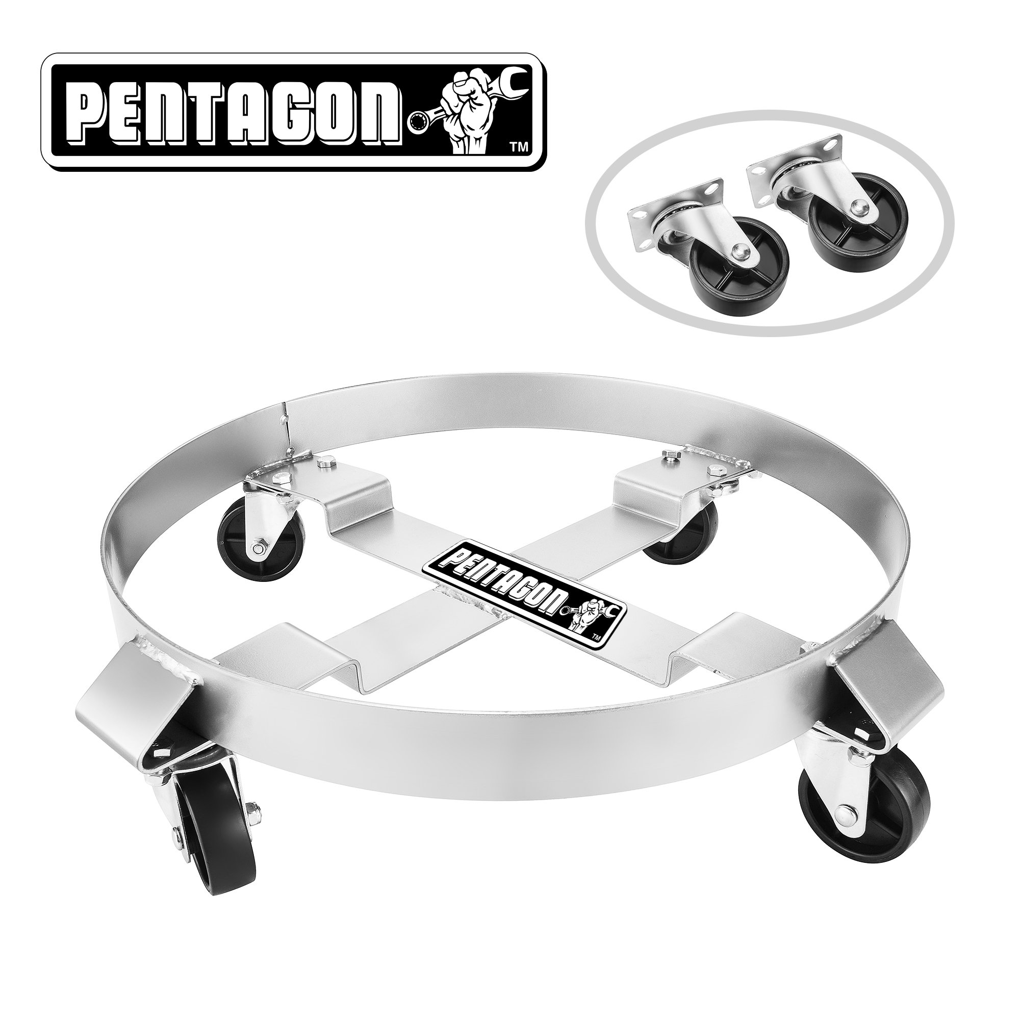 Pentagon 83-DT5495 Tool | Heavy Duty | 5 and 30-Gallon Drum Dolly | Single | Silver