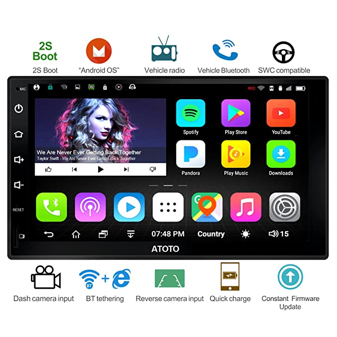ATOTO A6 Android Car Navigation Stereo - 2X Bluetooth & Quick Charge -  Premium A6Y2721P 2G/32G Universal Auto Entertainment Multimedia  Radio,WiFi/BT