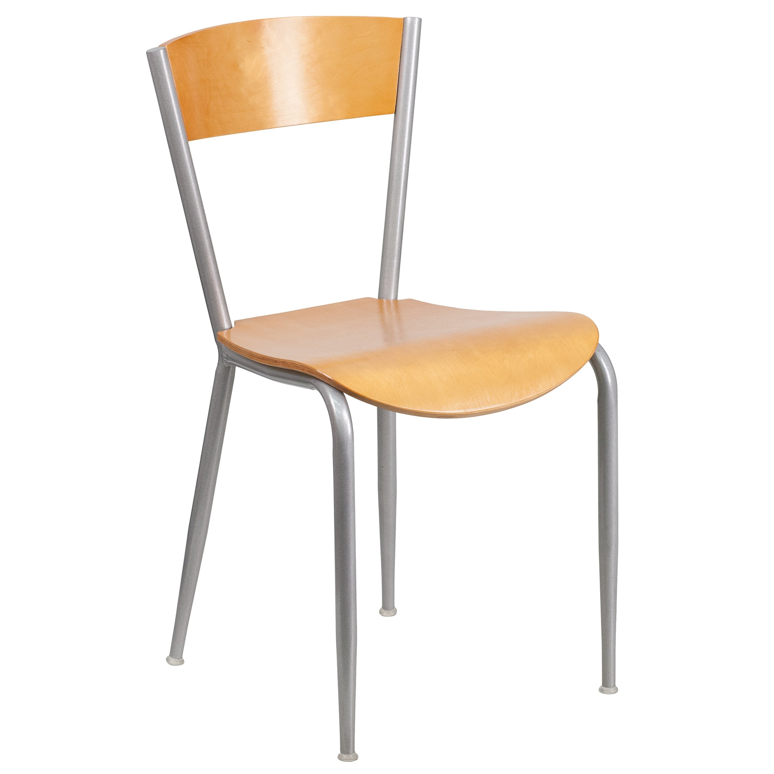 Flash Furniture Invincible Series Silver Metal Restaurant Chair - Natural Wood Back & Seat