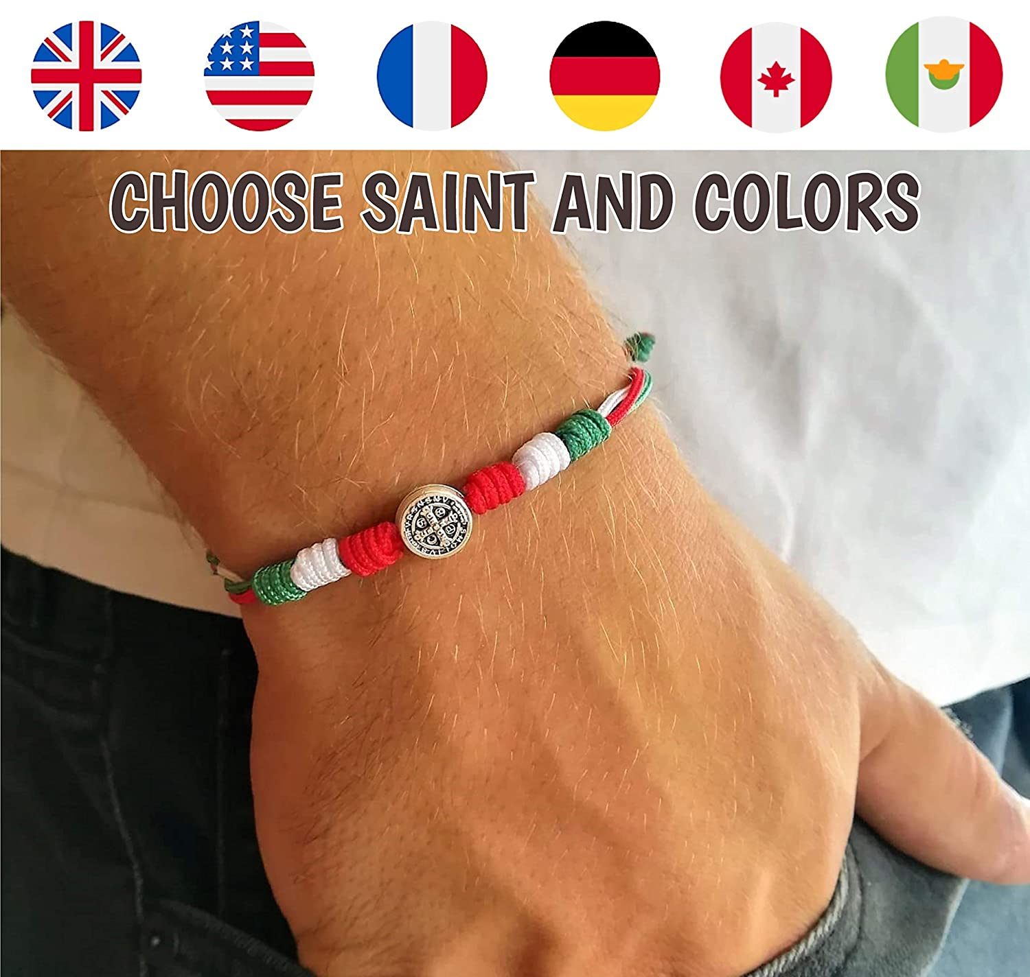 Country Flag Colors Catholic Saint Medal Bracelet Mens Womens Kids  Patriotic Religious Gift