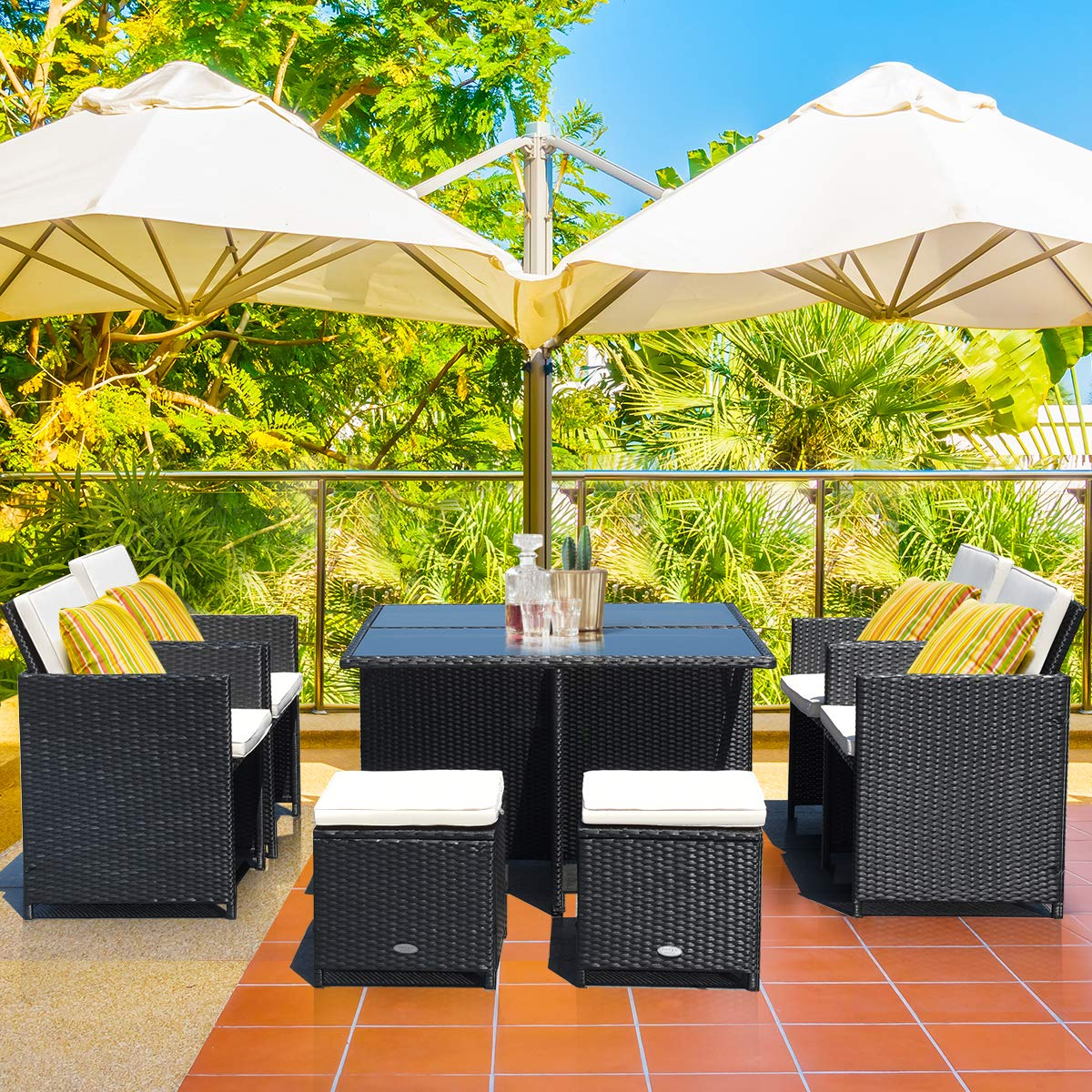 Tangkula 9 Pieces Patio Dining Set