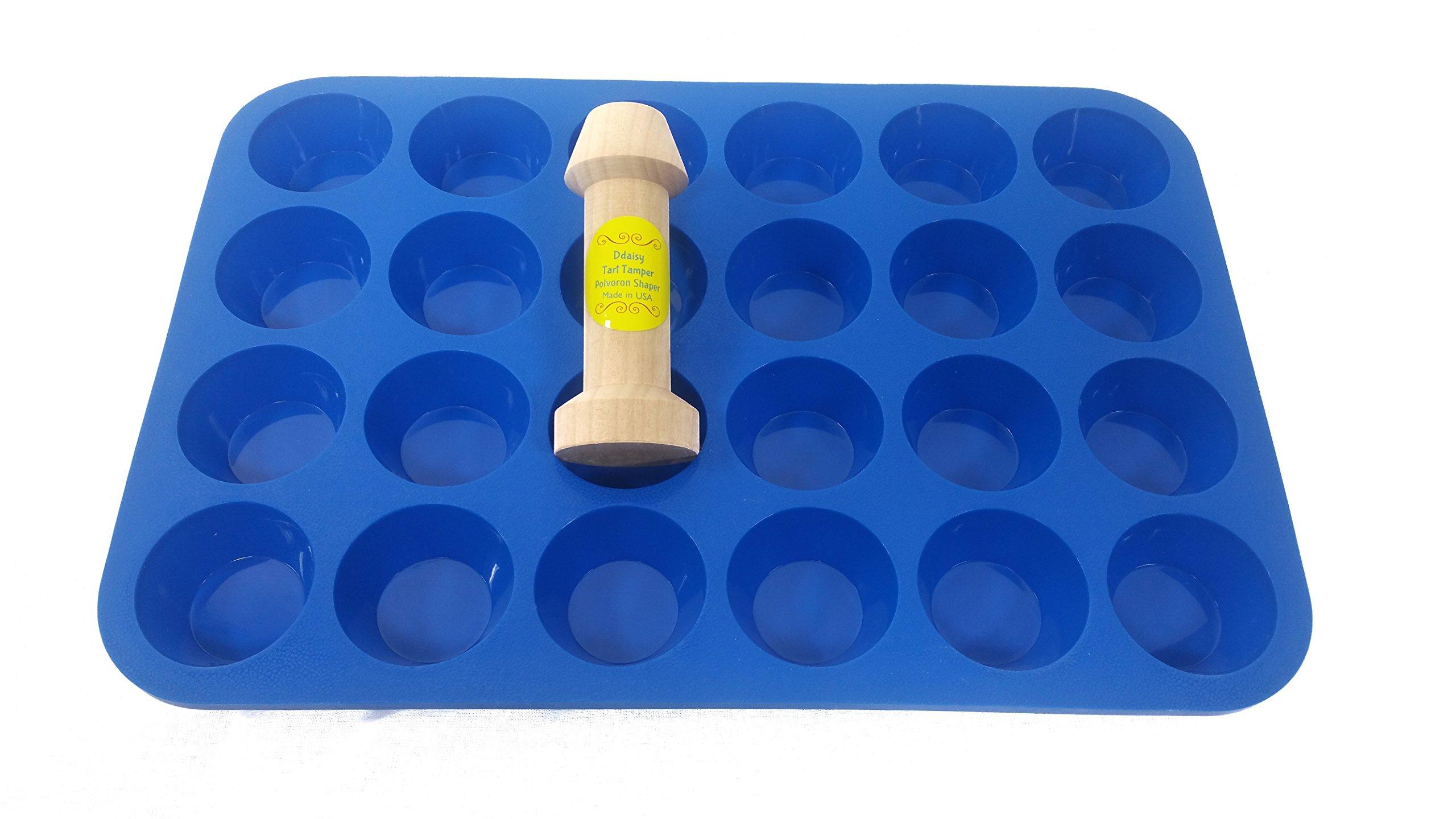 Ddaisy Tart Tamper & 24cup Silicone Mini Muffin Tart Pan Combo Blue