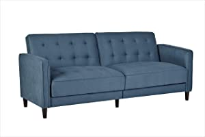 """Container Furniture Direct Madelina Modern Fabric Convertible Tufted Sleeper Sofa, 81"""", Ocean Blue"""