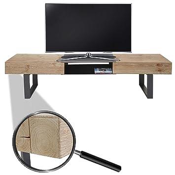 Tv rack holz  Mendler TV-Rack HWC-A15, Fernsehtisch, Tanne Holz rustikal massiv ...