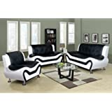 Beverly Fine Furniture F4501-3pc 3 Piece Aldo Modern Sofa Set, BLACK AND WHITE
