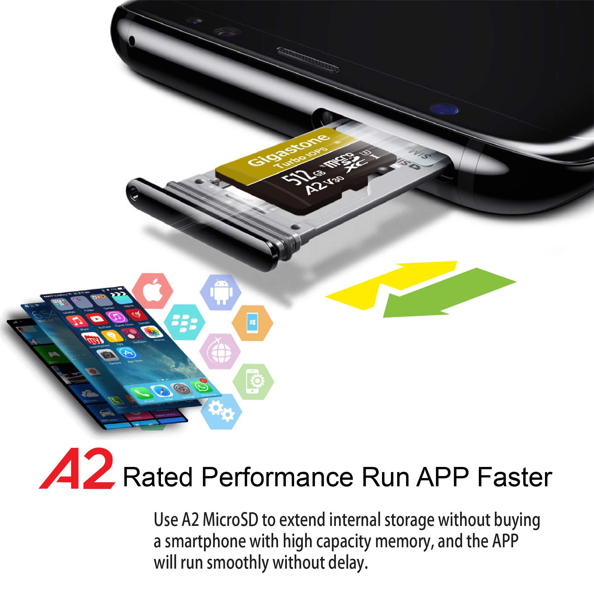 Gigastone 512GB Micro SD Card MicroSD A2 V30 UHS-I U3 Class 10, Run App for Smartphone, UHD 4K Video Recording, 4K Gaming, Read/Write 100/80 MB/s, Compatible Nintendo Dash cam GoPro Camera Tablet by Gigastone