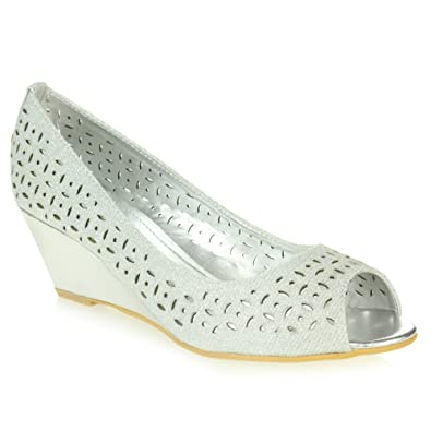 8edfb5fc91d AARZ LONDON Womens Ladies Comfort Casual Peeptoe Smart Office Work Slip On  Wedge Heel Silver Sandal