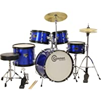 Gammon 5-Piece Junior Starter Drum Kit with Cymbals, Hardware, Sticks, Throne - Metallic Blue