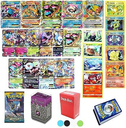 Assortmart 50 Pokemon Card Lot Mega Ex Booster Pack Elite Trainer Kit Free Deck Box Random Bonus Sleeves