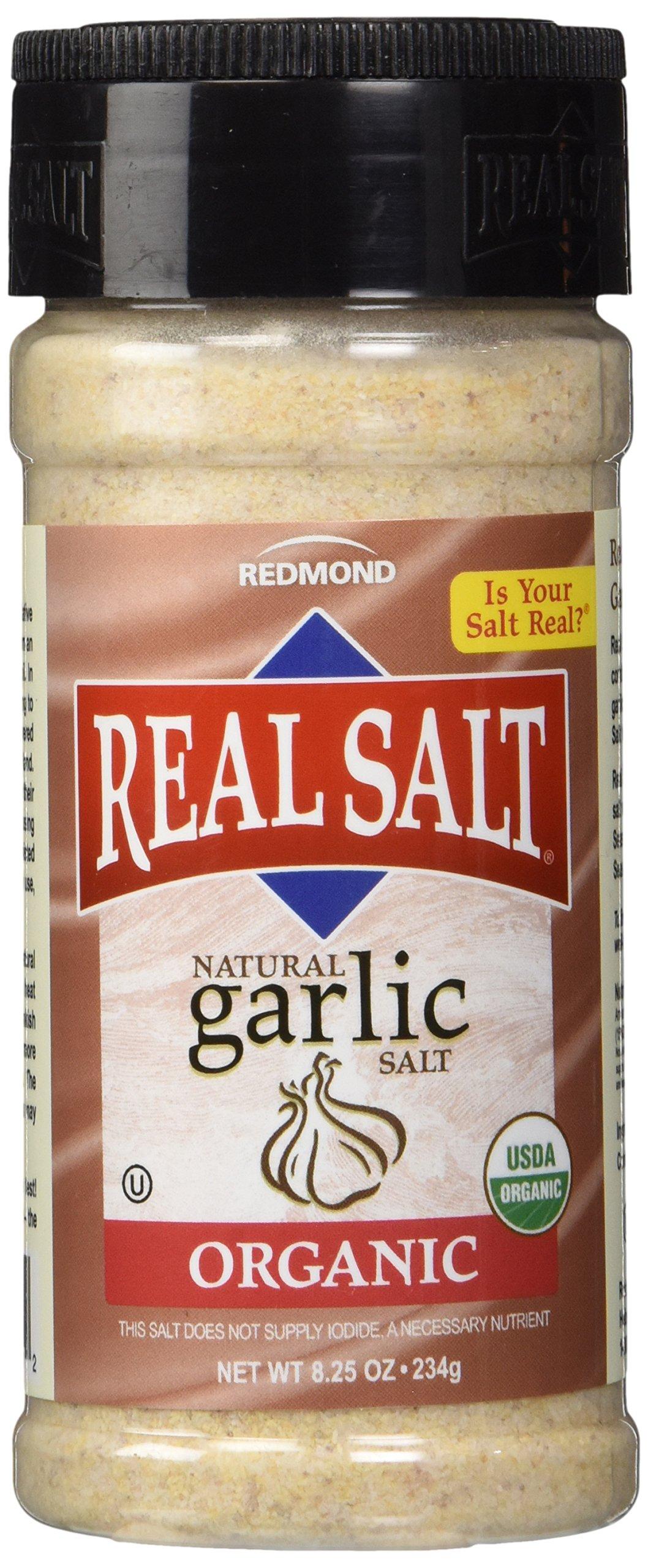Redmond Real Sea Salt - Natural Unrefined Organic Gluten Free, Garlic Salt 8.25 Ounce