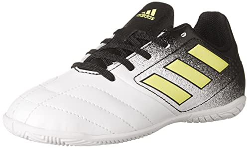045818c64 adidas Boys' ACE 17.4 Indoor Soccer Shoes, Footwear White/Solar Yellow/Core