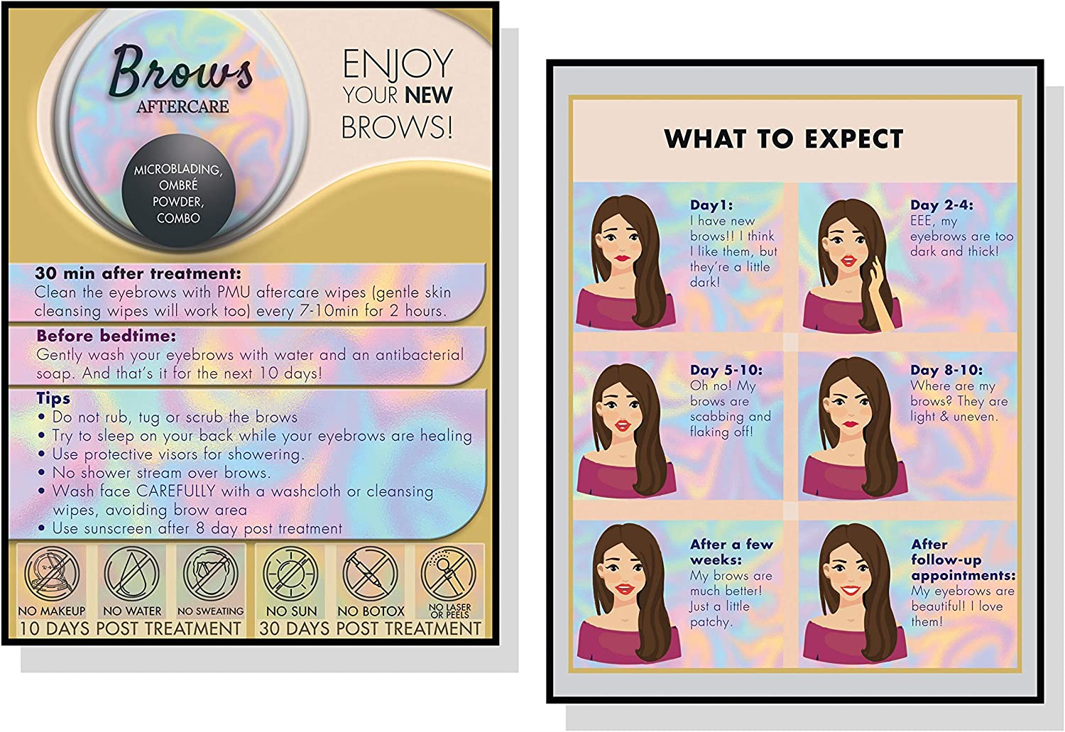 """Microblading Aftercare Instruction Cards 