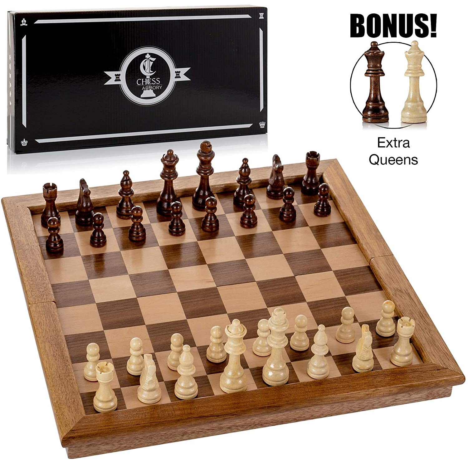 """Chess Armory Large 17"""" Wooden Chess Set with Felted Game Board Interior for Storage"""