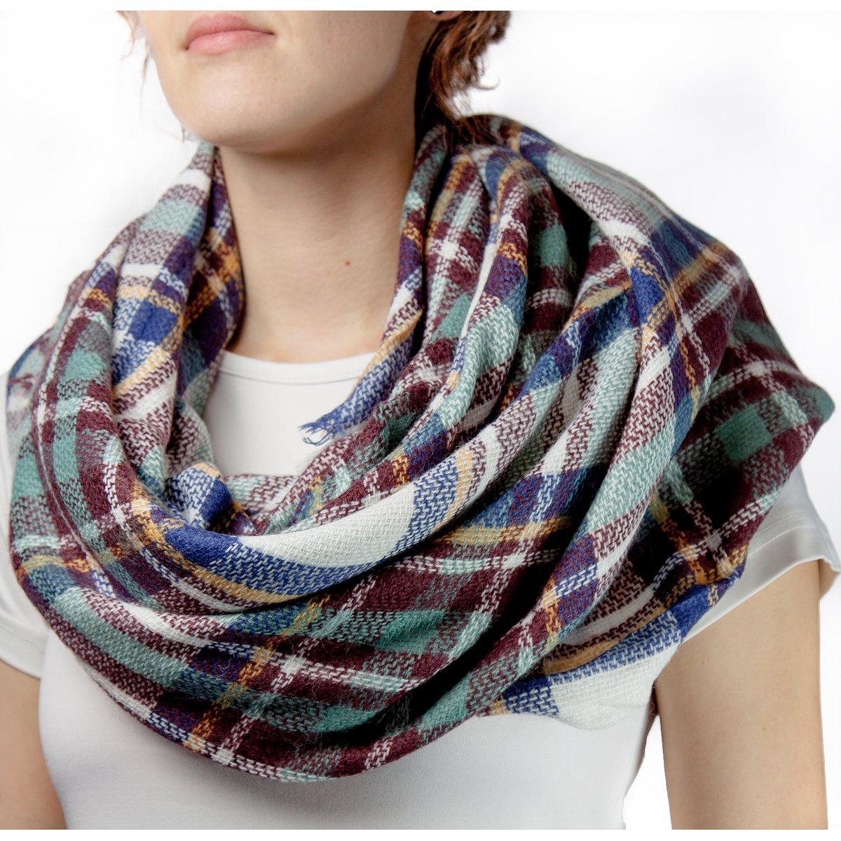 Oramics elegante mujer cuello de toalla Poncho/–Cortina 140x 140cm sobre Varios Colores, azul-marrón...