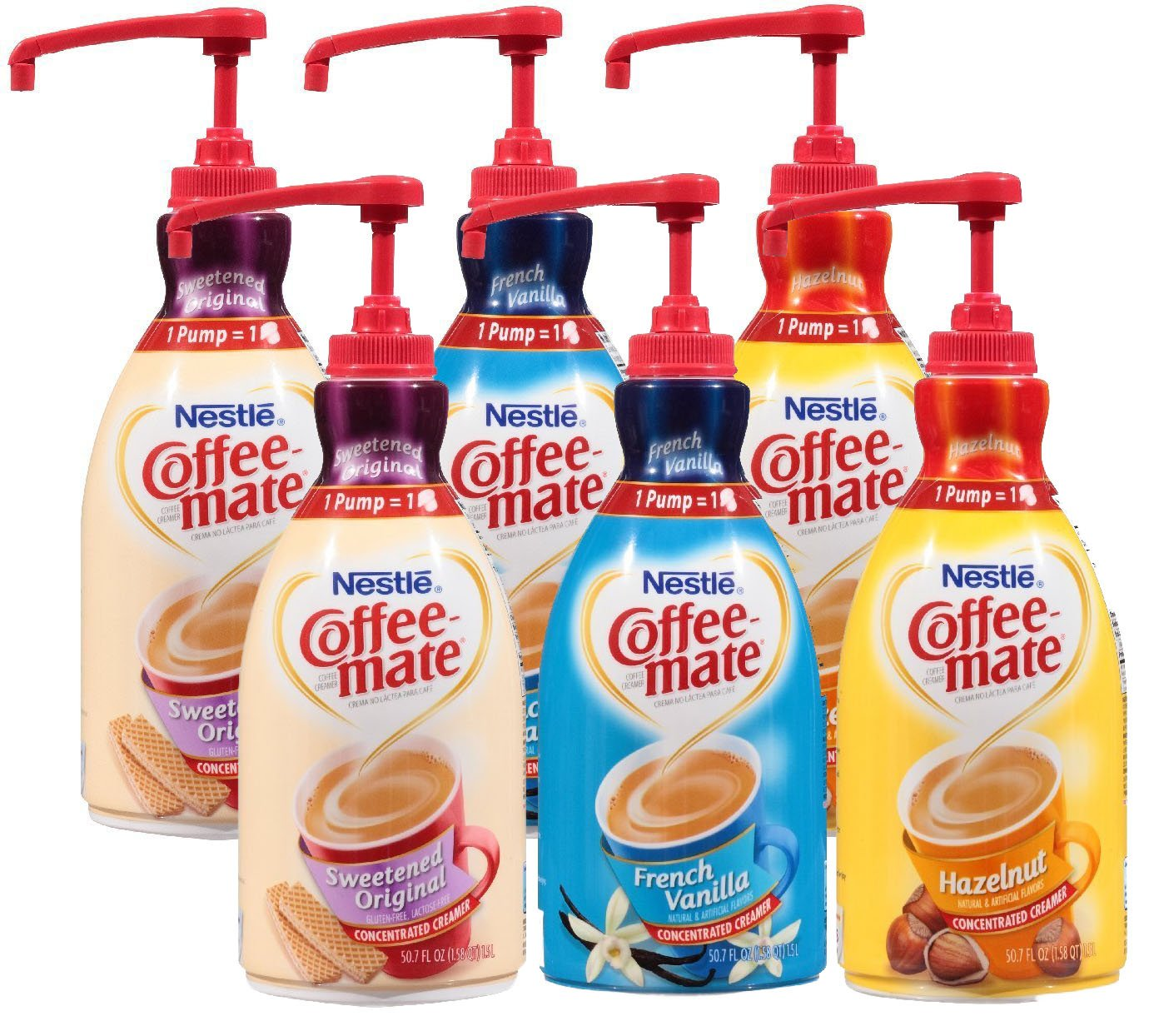 Coffee Mate Liquid Concentrate 1.5 Liter Pump Bottle - Variety 3 Pack - Original Sweetened Cream, French Vanilla & Hazelnut - 2 COUNT by Coffee-mate