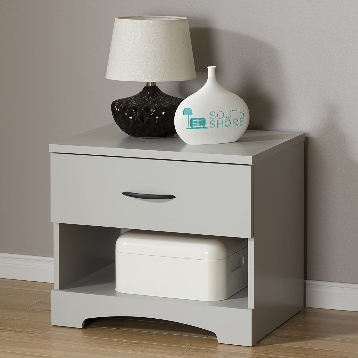 South Shore Step One 1-Drawer Nightstand, Soft Gray with Matte Nickel Handles