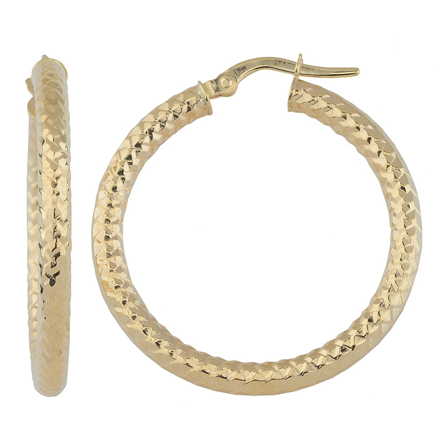 14k Gold 3x25mm Diamond-cut Finished Round Hoop Earrings (yellow gold or white gold)