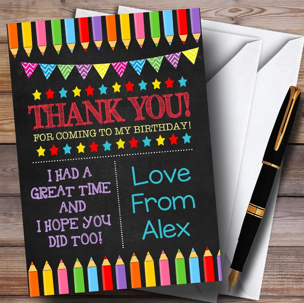 Art Craft Pencils Chalk Style Party Thank You Cards