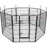 Songmics Recinzione Recinto per Cani Conigli Animali di Ferro 100 x 80 cm nero PPK81H