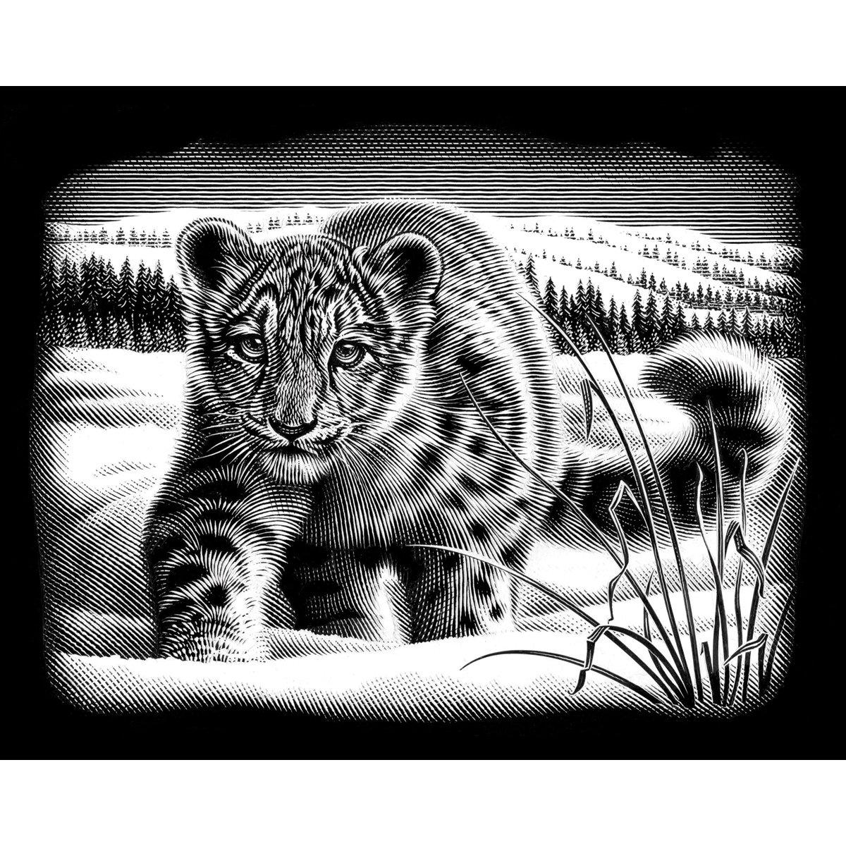 Reeves Snow Leopard Scraperfoil Artwork, Silver