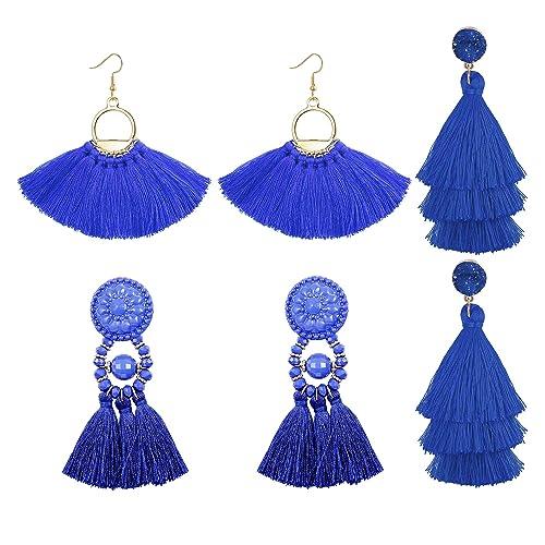 b6898462930e0 LOLIAS 3 Pairs Long Thread Tassel Earrings for Women Girls Fashion Dangle  Drop Earrings