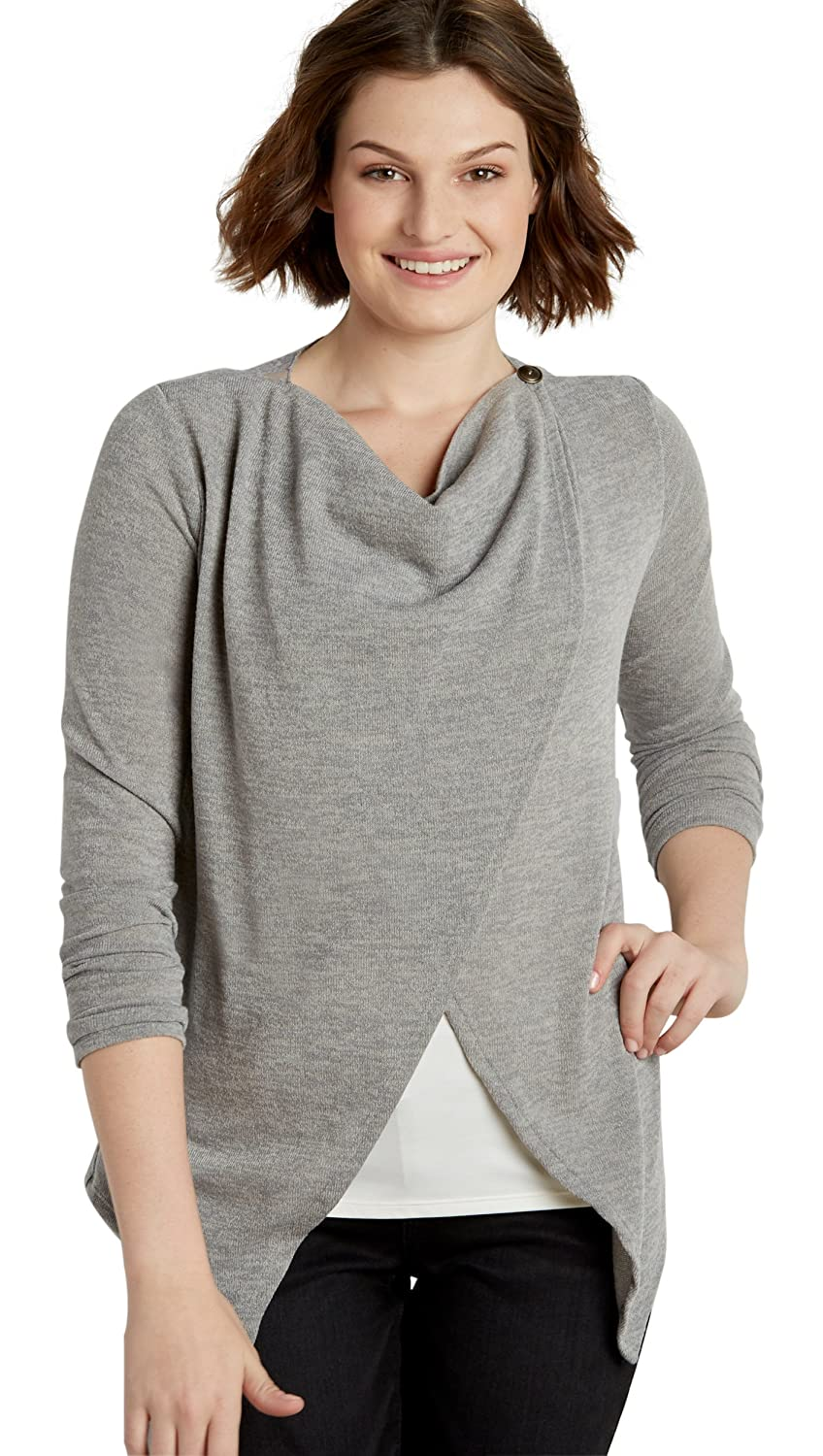 Maurices Women's Asymmetrical Cardigan With Embroidered Mesh Back Yoke