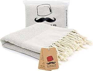 Bazaar Anatolia Acacia Turkish Towels 100% Cotton Beach Towels Oversized 77x38 Bath Towel Boho Farmhouse Decor Sheets Travel Camping Sauna Gym Pool Quick Dry Towels (Gray)