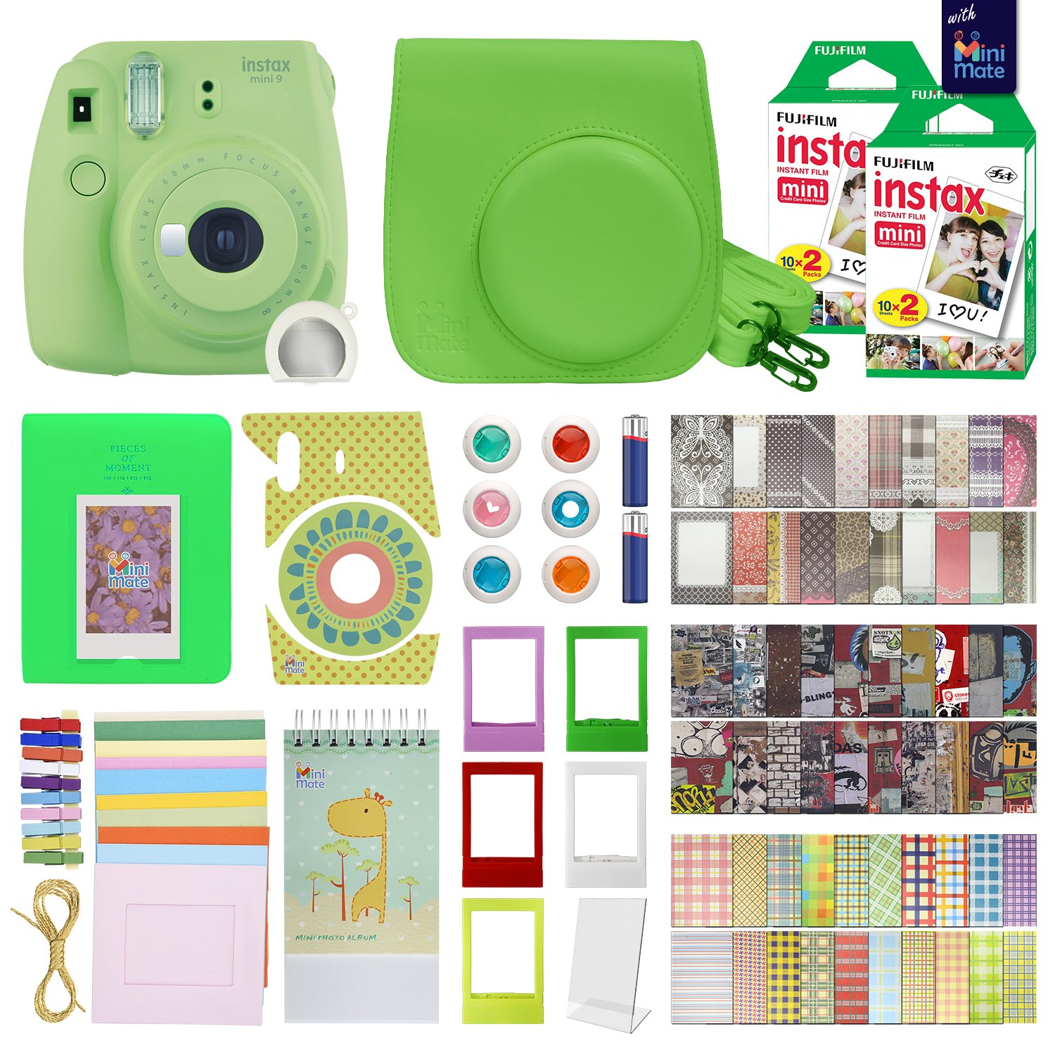 Fujifilm Instax Mini 9 Instant Camera With with 40 Sheets of Instant Film, Custom Mini 9 Case with Strap, Photo Album, Assorted Frames , 6 Color Filters And More Best Value Bundle by MiniMate