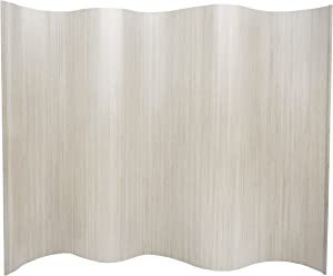Oriental Furniture 6 ft. Tall Bamboo Wave Screen - White