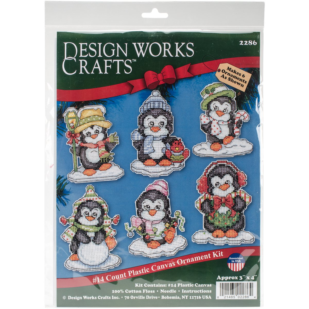 Design Works Crafts 3-1/2 Each Cross Stitch Ornament Kit, Penguins on Ice Inc. 2286