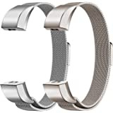"""Oitom Alta HR Accessory Bands and Alta Band,New Fashion Stainless Steel Milanese Loop Wristband (2 Pack Silver+Champagne, Small 5.1""""-6.7"""")"""