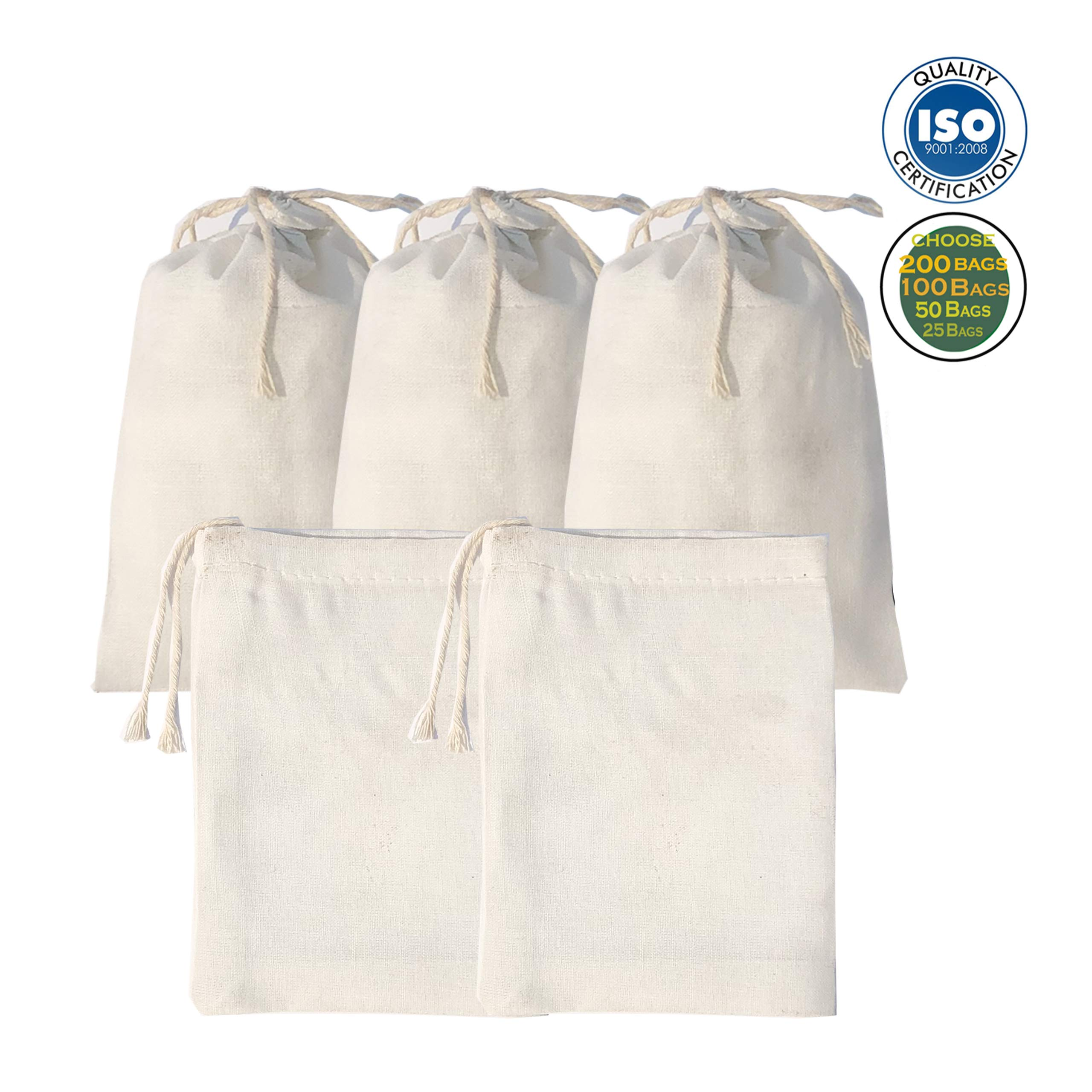 6x10 inch Muslin Cotton Premium Quality Bags, Art and Craft Bags/Pouch Thicker Fabric and Drawstring *Durable* (Pack of 25)