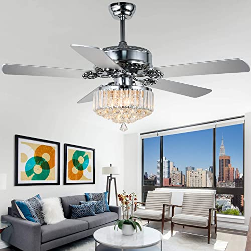 52″ Crystal Ceiling Fan Chandelier