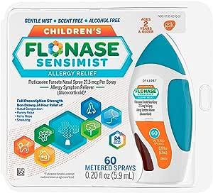 Flonase Sensimist Allergy Relief Nasal Spray for Children 24 Hour Non Drowsy Allergy Medicine, 0.20 Fl Oz (Pack of 1)