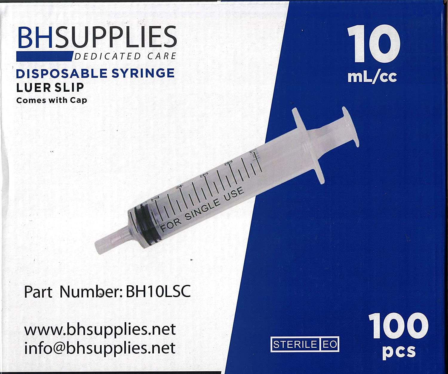 10ml Sterile Luer Slip Tip Syringe - with Covers -100 Syringes by BH Supplies (No Needle) Individually Sealed
