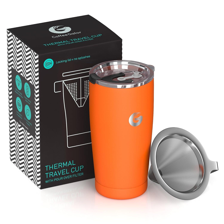 Coffee Gator Cafetera de Viaje Cafetera de Goteo sin Papel Todo en uno - 15,5 oz - Taza de vacío térmico con Filtro de micromalla y Tapa bloqueable (Azul)