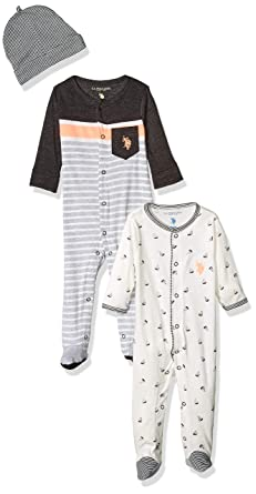 b8cd25ef4 Amazon.com  U.S. Polo Assn. Baby Boys Footie  Clothing