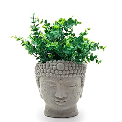 Designer Stone Buddha Head Planter-Solid Stone, with Drainage, Sealed for Outdoor Use, Made in The USA (Small) : Garden & Outdoor