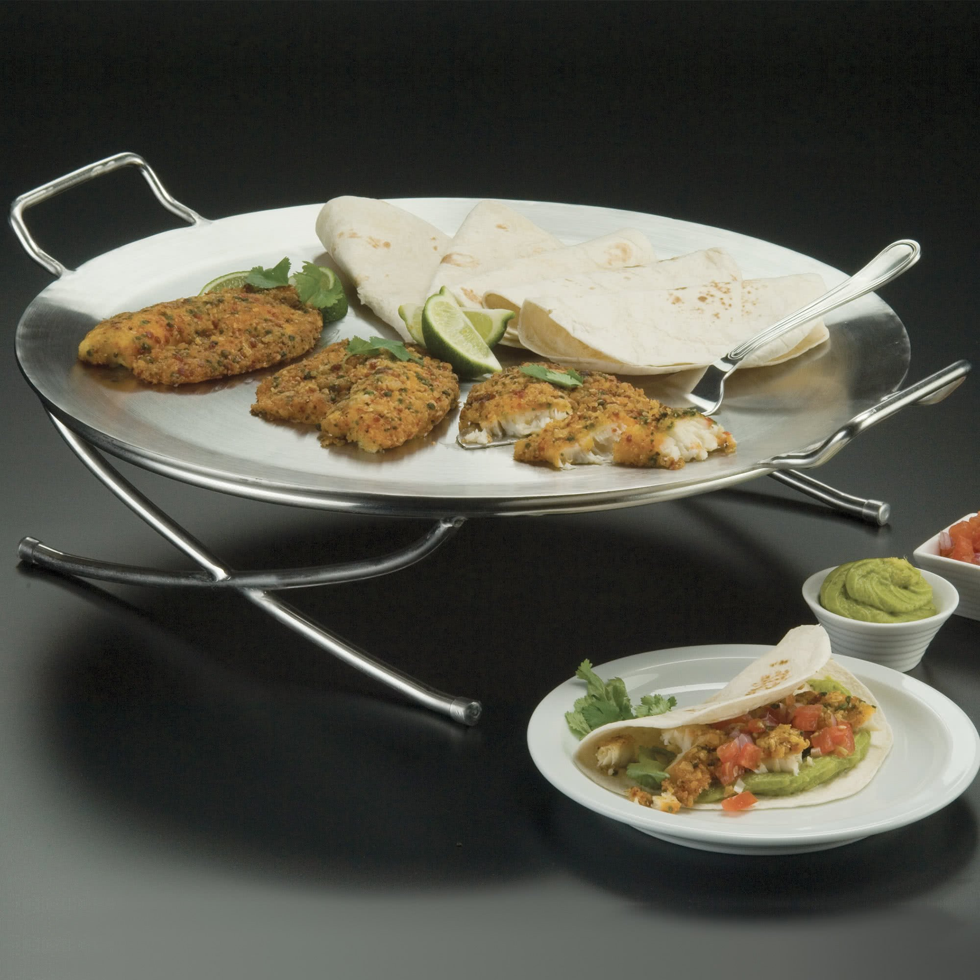TableTop king GSSS20 Round Stainless Steel X-Leg Griddle Stand 17''
