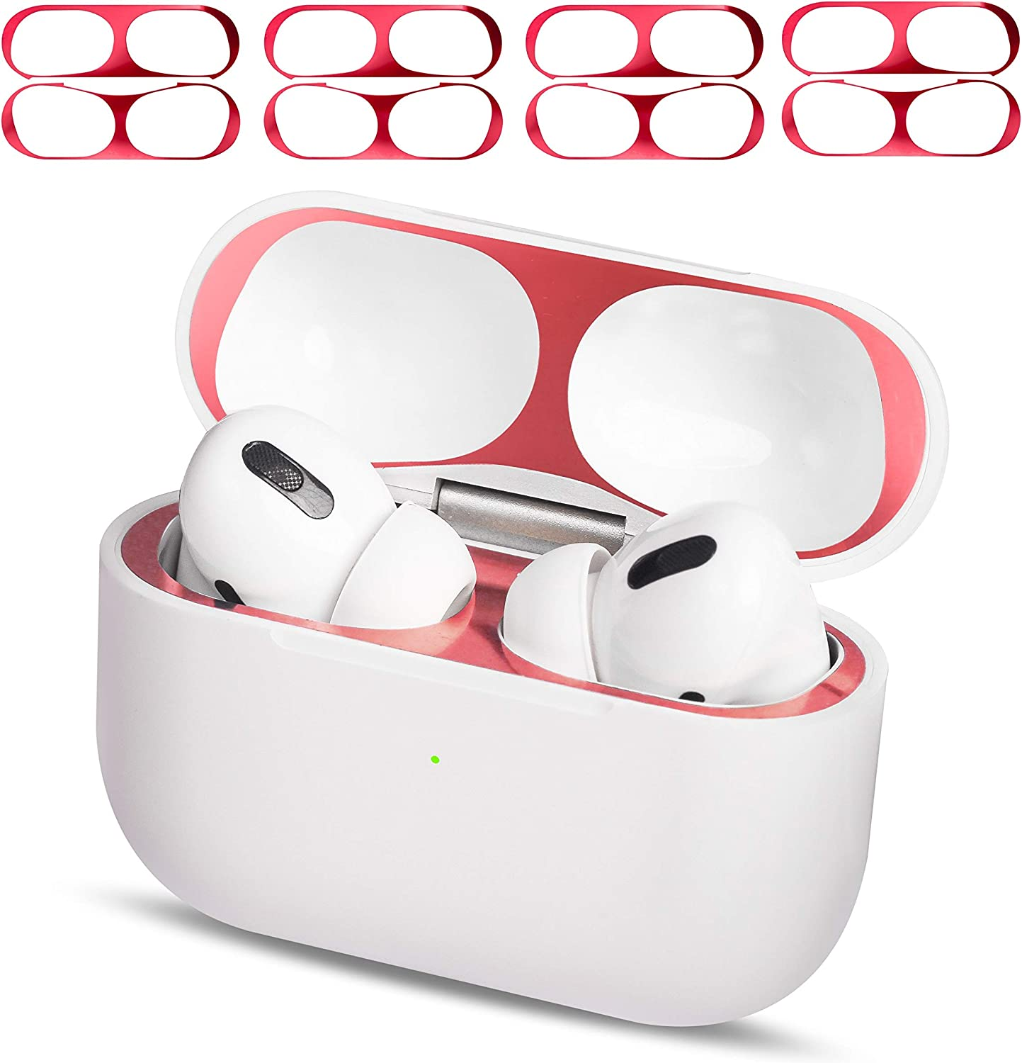 MioHHR AirPods Pro Dust Guard Clear 4 Set, Metal Dust Cover for Apple Airpod Pro Protector Sticker, Airpods 3 Dust Proof Film Accessories for Wireless Wired Charging Case, Ultra Slim Luxurious Red