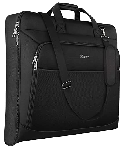Zegur 40-Inch 3 Suit Carry-on Garment Bag for Travel or Business Trips Features an Adjustable Shoulder Strap and Multiple Organisation Pockets Black