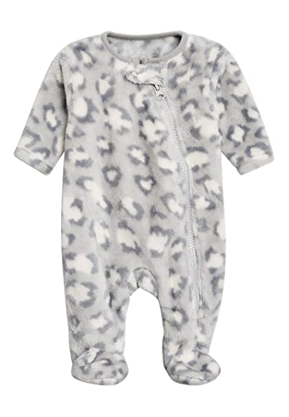 next Bebé-Niñas Pijama Tipo Pelele Polar con Estampado De Leopardo (0 Meses -
