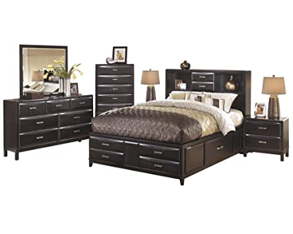 Amazoncom Ashley Kira 6pc Bedroom Set Queen Storage Bed Dresser