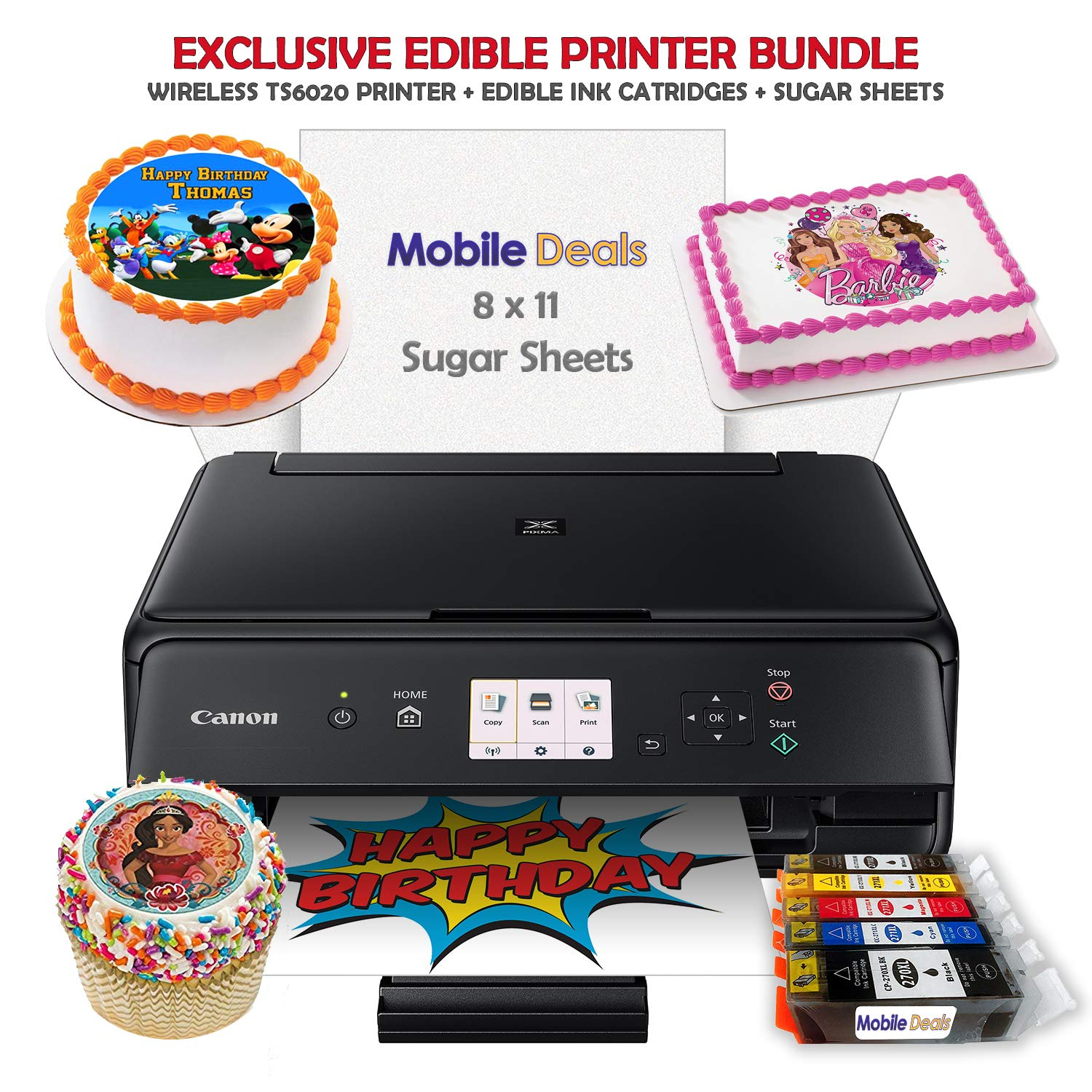 Mobile Deals Edible Birthday Cake Topper and Tasty Treats Image Printer Bundle - Includes Canon Wireless Printer, Edible Ink Cartridges and Sugar Sheets by Mobile Deals (Image #1)